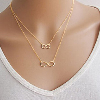 Women's Pendant Necklace - Infinity Basic, Double-layer Silver, Golden Necklace For Party, Daily, Casual