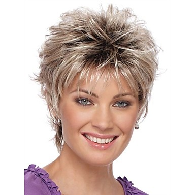 Peruki Syntetyczne Damskie Curly Blond Fryzura Pixie Włosie