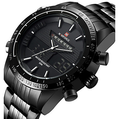 50d09cb63e5 NAVIFORCE Homens Relógio Esportivo Relógio de Pulso Japanês Quartzo Aço  Inoxidável Preta   Prata 30 m