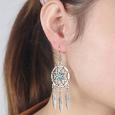 Druppel oorbellen Dangle Oorbellen Eenvoudige Stijl Europees Bohemia Style Turkoois Legering Wings Zilver Sieraden Voor Dagelijks Causaal