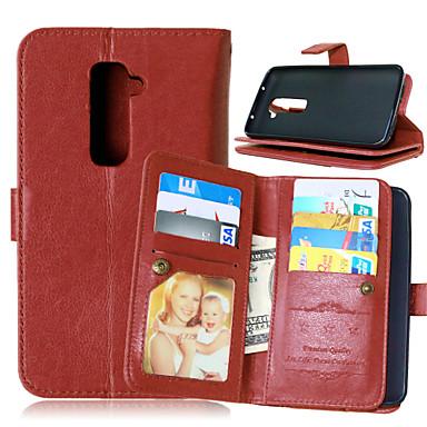 Capinha Para LG Capinha LG Porta-Cartão Carteira Com Suporte Flip Côr Sólida Rígida para