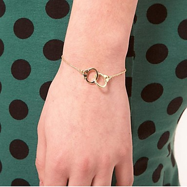 Pentru femei Brățări cu Lanț & Legături Brățări cu Talismane Cătușe Parteneri în crimă centralizare Cerc de interblocare femei Small Aliaj Bijuterii brățară Argintiu / Auriu Pentru Casual