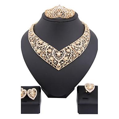 Conjunto de Jóias Moda Liga Formato de Cruz Colares Brincos Anéis Bracelete Para Casamento Festa 1 Conjunto Presentes de casamento