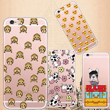 Capinha Para iPhone 6 iPhone 6 Plus Transparente Estampada Capa Traseira Azulejo Macia TPU para iPhone 6s Plus iPhone 6 Plus iPhone 6s