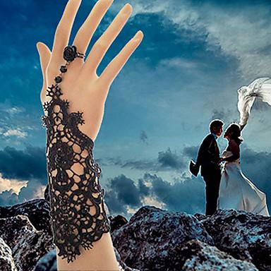 Dames Ringarmbanden Oorbellenset Bruids Kant Wit Zwart Sieraden Voor Bruiloft Feest Dagelijks Causaal Kerstcadeaus 1 stuks
