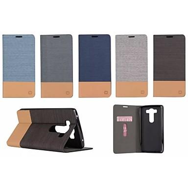 Voor LG hoesje Kaarthouder / met standaard / Flip hoesje Volledige behuizing hoesje Effen kleur Hard PU-leer LG LG V10
