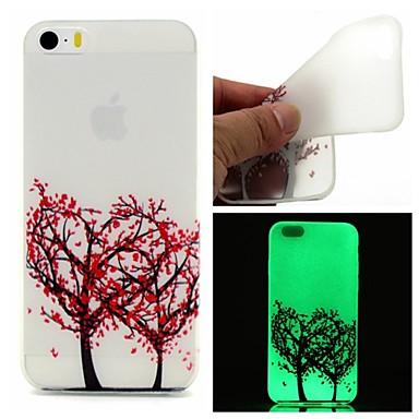 Capinha Para Capinha iPhone 5 Brilha no Escuro Capa Traseira Árvore Macia TPU para iPhone SE/5s iPhone 5