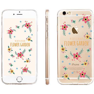 Capinha Para Apple iPhone 6 iPhone 6 Plus Transparente Estampada Capa traseira Flor Macia TPU para iPhone 6s Plus iPhone 6s iPhone 6 Plus