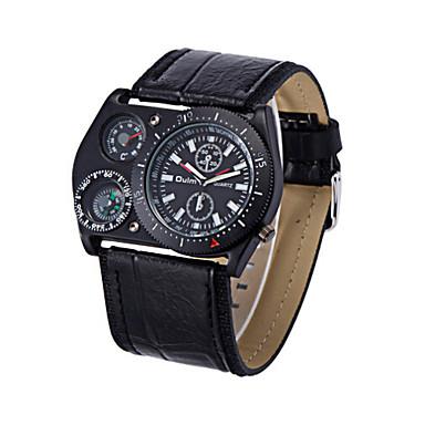 Masculino Relógio Esportivo Quartzo Impermeável Couro Banda Preta Branco Preto Verde