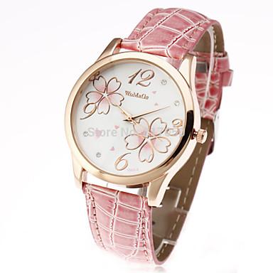 Mulheres Quartzo Relógio Casual Couro Banda Flor Casual Fashion Preta Branco Vermelho Marrom Rosa
