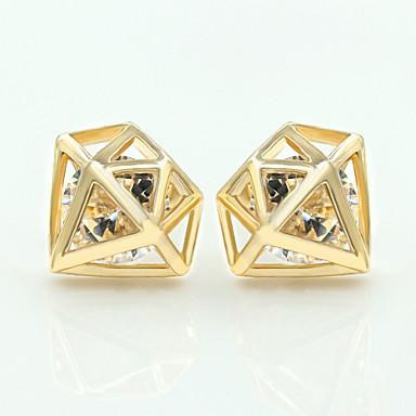 Brincos Curtos Cristal Liga Prata Dourado Jóias Para Casamento Festa Diário Casual 1peça