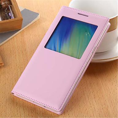 Voor Samsung Galaxy hoesje met venster / Flip hoesje Volledige behuizing hoesje Effen kleur PU-leer Samsung A5