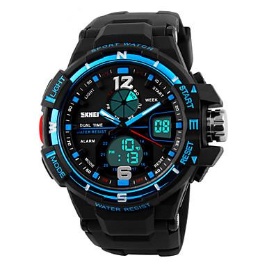 Heren Polshorloge Sporthorloge Kwarts Alarm Kalender Chronograaf Waterbestendig LED Dubbele tijdzones PU Band Zwart