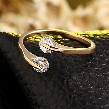 Pentru femei Diamant Band Ring degetul mare Zirconiu femei Ajustabile Inele la Modă Bijuterii Argintiu / Auriu Pentru Nuntă Petrecere Zilnic Casual 6 / 7 / 8 / 9