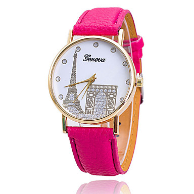 Xu™ Mulheres Relógio de Moda Quartzo Relógio Casual PU Banda Doce Torre Eiffel Marrom Verde Rosa Roxa