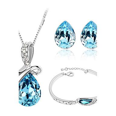 Dames Kristal Sieraden set Oorbellen Kettingen Armband - Liefde Modieus Wit Paars Rood Groen Blauw Kristallen ketting Crystal Jewelry Set