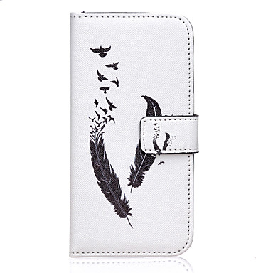 Capinha Para Samsung Galaxy Samsung Galaxy Capinhas Porta-Cartão Carteira Com Suporte Flip Capa Proteção Completa Penas PU Leather para S7
