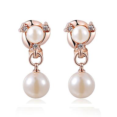 Dámské Perla Náušnice - Klipsy - Perly Napodobenina perel Zirkon dámy  Šperky Stříbrná   Růžové zlato 5c2e4f49419
