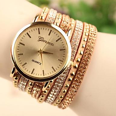 Mulheres Relógio de Moda Bracele Relógio Quartzo Relógio Casual Couro Banda Preta Branco Dourada Branco Preto Dourado