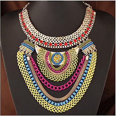 baratos Colares-Mulheres Colares Declaração colares em camadas Multi Camadas Importante senhoras Europeu Fashion Resina Plástico Liga Vermelho Escuro Colar Jóias Para Ocasião Especial Aniversário Presente