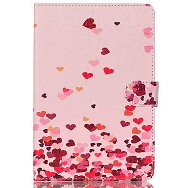 corações cor de rosa de couro folio caso tampa do suporte com suporte para o ipad mini-4