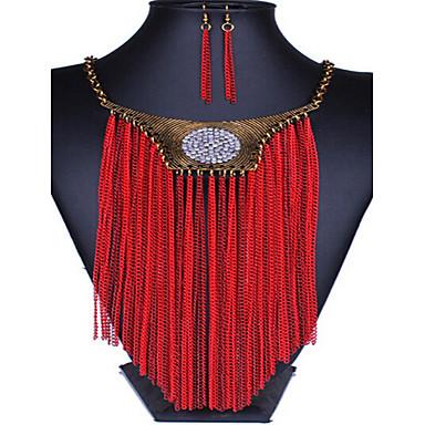 Γυναικεία Κρυστάλλινο Cubic Zirconia Κοσμήματα Σετ Cercei / Κολιέ - Θύσανος / Βίντατζ / Πάρτι Κόκκινο Σετ Κοσμημάτων Για Πάρτι / Ειδική