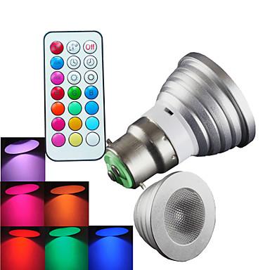 B22 LED Σποτάκια MR16 1 leds LED Υψηλης Ισχύος Με ροοστάτη Τηλεχειριζόμενο Διακοσμητικό RGB 300lm RGBK AC 100-240V