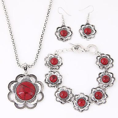 Mulheres Turquesa Conjunto de jóias Brincos / Colares / Bracelete - Luxo / Europeu Vermelho / Azul Conjunto de Jóias Para Festa / Diário