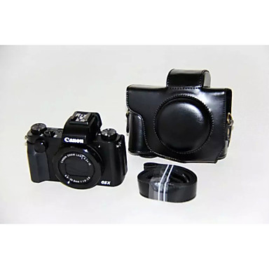 dengpin® pu bolsa de câmera caso couro cubra com alça de ombro para Canon PowerShot G5 x (cores sortidas)