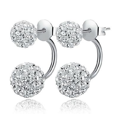 Mulheres Brincos Curtos Diamante sintético Clássico Fashion Prata de Lei Cristal Prateado Imitações de Diamante Cruz Jóias Casamento