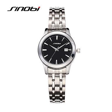 SINOBI Mulheres Relógio de Moda Quartzo Calendário Impermeável Lega Banda Prata