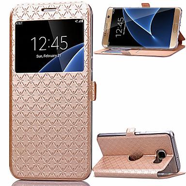 Недорогие Чехлы и кейсы для Galaxy S6 Edge-Кейс для Назначение SSamsung Galaxy S8 Plus / S8 / S7 edge Бумажник для карт / со стендом / с окошком Чехол Геометрический рисунок Кожа PU