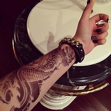 braço grande peixe totem transferência falso corpo tatuagens temporárias sensuais adesivos