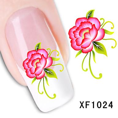 11pcs Transferência de água adesivo Etiquetas de unhas 3D Modelo de estampa de unhas Diário Flor Fashion Adorável Alta qualidade