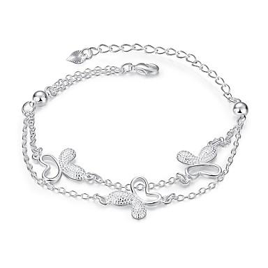 Dames Armbanden met ketting en sluiting - Verzilverd Vlinder, Dier Gepersonaliseerde, Eenvoudig, Bohémien Armbanden Zilver Voor Kerstcadeaus / Feest / Dagelijks