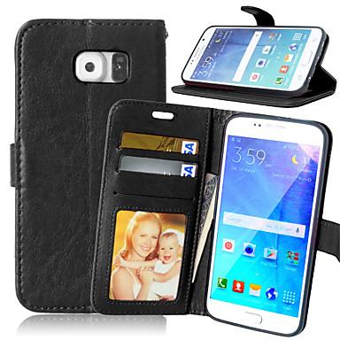 Capinha Para Samsung Galaxy Samsung Galaxy S7 Edge Carteira Porta-Cartão Com Suporte Flip Capa Proteção Completa Côr Sólida PU Leather