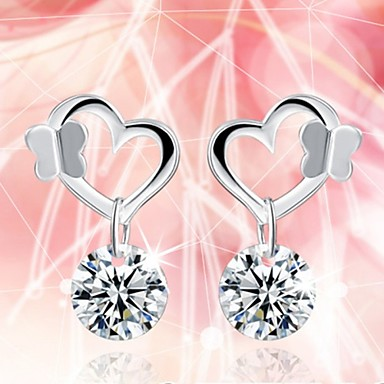 Oorknopjes Hart Sterling zilver Zirkonia Hartvorm Zilver Sieraden Voor Bruiloft Feest Dagelijks Causaal Sport 1 stuks