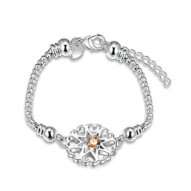 Dames Armbanden met ketting en sluiting Eenvoudige Stijl Modieus Zirkonia Kubieke Zirkonia Koper Verzilverd Zilver Sieraden VoorFeest