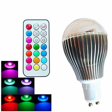 500 lm GU10 Lâmpada Redonda LED A60(A19) 3 leds LED de Alta Potência Regulável Decorativa Controle Remoto RGB AC 100-240V