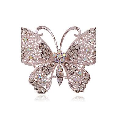 Dames Vlinder Strass / Verzilverd / Gesimuleerde diamant - Luxe / Modieus / Europees Dier Broche Voor Bruiloft / Feest / Dagelijks