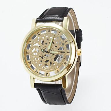 Mulheres Quartzo Relógio Esqueleto Gravação Oca PU Banda Amuleto Fashion Preta Marrom