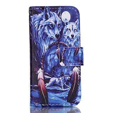 Capinha Para Capinha iPhone 5 Porta-Cartão Carteira Com Suporte Flip Estampada Corpo Inteiro Animal Rígida Couro Ecológico para iPhone
