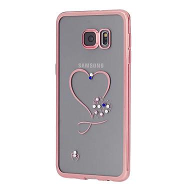 Kompatibilitás Samsung Galaxy S7 Edge tokok Strassz Galvanizálás Átlátszó Minta Hátlap Case Szív Hőre lágyuló poliuretán mert Samsung