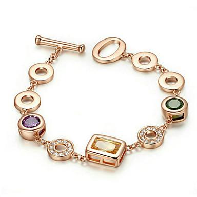 Dames Armbanden met ketting en sluiting Zirkonia Modieus Bohemia Style Verguld Rechthoekige vorm Sieraden Voor Feest