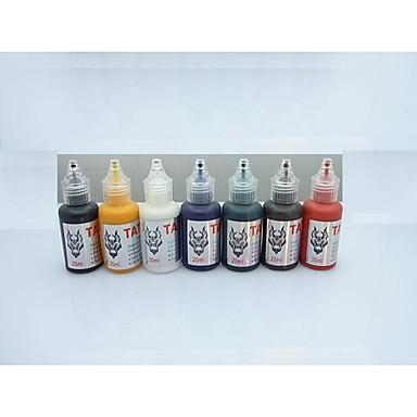 1 세트 basekey 문신 잉크 20mlx7 색 빨간색 화려한 파란색, 흰색 검은 색 녹색 황금 어두운 갈색
