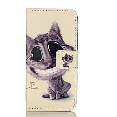 Mert iPhone 5 tok Pénztárca Kártyatartó Állvánnyal Flip Minta Case Teljes védelem Case Cica Kemény Műbőr mert AppleiPhone 7 Plus iPhone 7