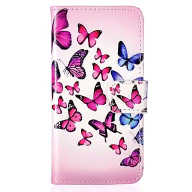 hoesje Voor iPhone 5 iPhone 5 hoesje Portemonnee Kaarthouder met standaard Flip Patroon Volledige behuizing Vlinder Hard PU-nahka voor