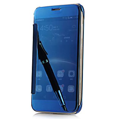 Case Kompatibilitás Samsung Galaxy Samsung Galaxy S7 Edge Galvanizálás Tükör Flip Átlátszó Fekete tok Tömör szín PC mert S7 edge S7 S6