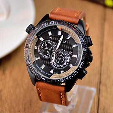 Heren Modieus horloge Kwarts PU Band Vintage Vrijetijdsschoenen Zwart Bruin