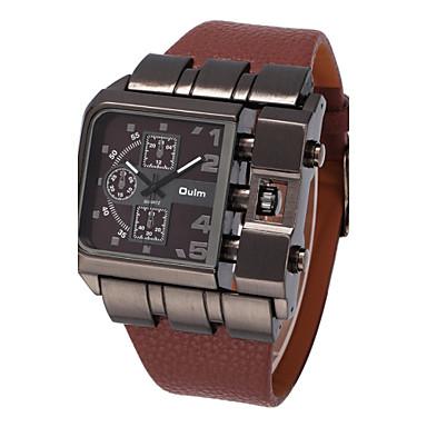 Oulm Homens Relógio Militar Relógio de Pulso Quartzo Mostrador Grande Couro Banda Legal Preta Azul Vermelho Marrom